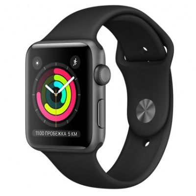 Apple Watch Series 3 (GPS) 42mm Space Gray Aluminum w. Black Sport B. - Space Gray (MQL12)