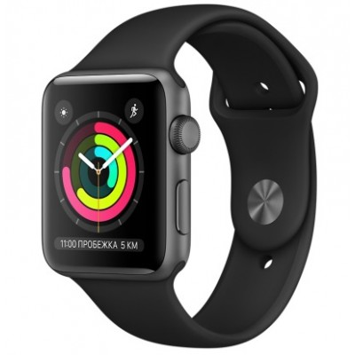Apple Watch Series 3 GPS 38mm Space Gray Aluminum w. Black Sport B. - Space Gray (MQKV2)
