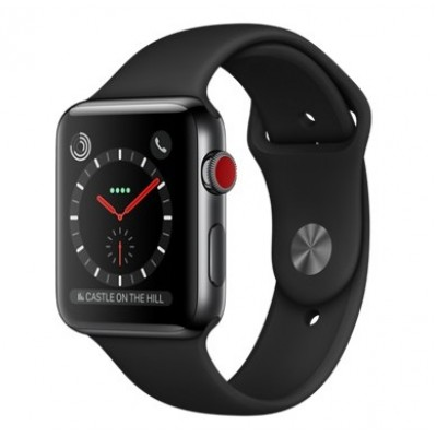 Apple Watch Series 3 GPS + Cellular 42mm Space Black Stainless Steel w. Black Sport B. (MQK92)