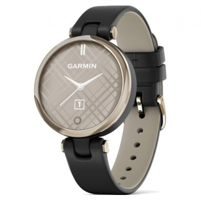 Garmin Lily Cream Gold Bezel with Black Case and Italian Leather Band (010-02384-B1)