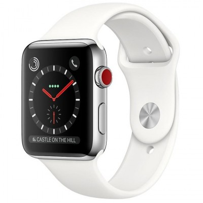 Apple Watch Series 3 GPS + Cellular 38mm Stainless Steel w. Soft White Sport (MQLV2)